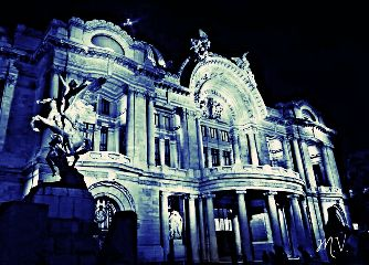 mexico blue city palacio arquitecture