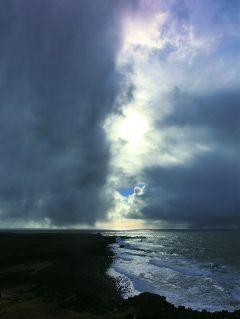 iceland beach sea sky blackandwhite