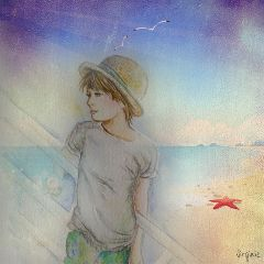 drawing collage beach summer watercolor