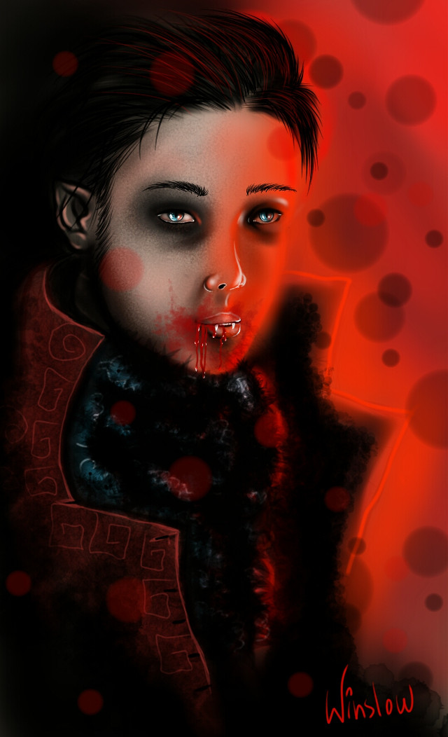 Everyone that was guessing, the drawing is a vampire #red #art #drawing #fantasy