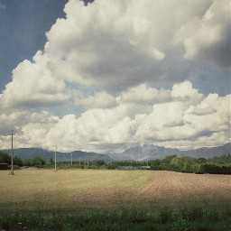 landscape field clouds countryside