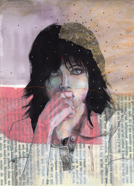 Mixed media on paper (collage ,pencil,gouache) #drawing #art