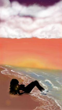 drawing beach sunset silouhette waves
