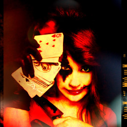 me edited selfportrait missjoker darkart fantasy colorburn red mask border